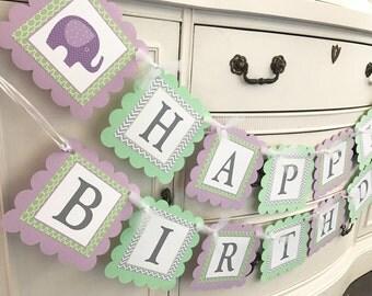 Elephant banner, Elephant birthday, Elephant party, Elephant theme, mod elephant, lavender and mint, elephant baby shower, 1st birthday