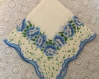 Vintage Print Handkerchief,Something Blue,Bridal Hankie