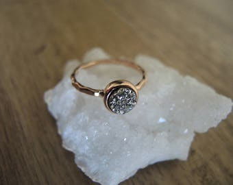 Silver Druzy Ring, Rose Gold Ring, 18K Rose Gold Vermeil Bezel Ring, Druzy Stone Ring, Silver  Druzy Jewelry, Rose Gold Jewelry Gift For Her