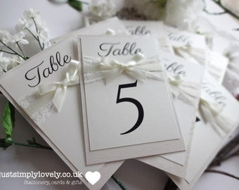 Vintage Ivory & lace Wedding Table Name Cards