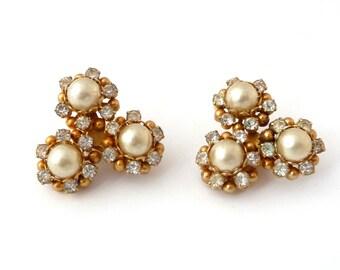 Kramer Earrings Rhinestones Faux Pearls Triple Flower Design - Vintage Clip On Earrings Signed Kramer from TreasuresOfGrace