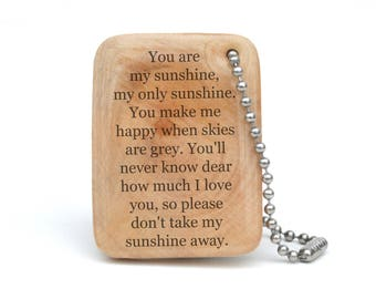 You are my Sunshine keychain, personalized graduation gift, daughter gift, going away gift