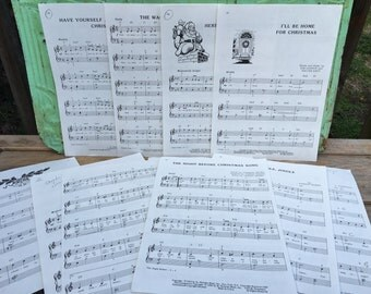 11 Large Vintage Christmas Song Sheets, Vintage Paper Ephemera Book Pages, Vintage Christmas Music Pages