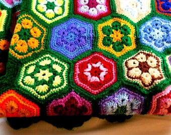 "Afghan Grandmother's  hand Crocheted Throw Vibrant six sided patches on Kelly Green background 56"" x 60"""