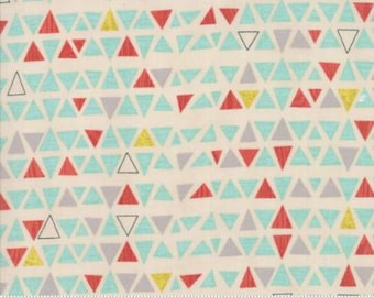 Ninja Cookies by Jenn Ski for Moda - Geometric Triangles - Natural White - 1/2 Yard Cotton Quilt Fabric