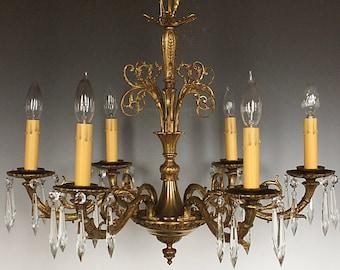 Restored Vintage Chandelier, FREE SHIPPING, Brass and Bronze Antique Lighting, Antique Chandelier, Bedroom Chandelier, Kitchen Chandelier