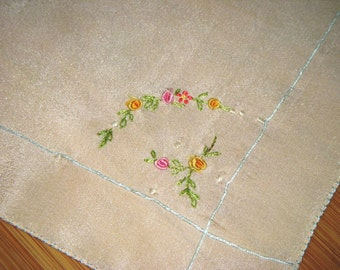 Roses Handkerchief 1920 Peach Silk Vintage Hanky Hand Embroidery Wedding Pink Yellow Roses Flowers Blue Silk Thread Trim