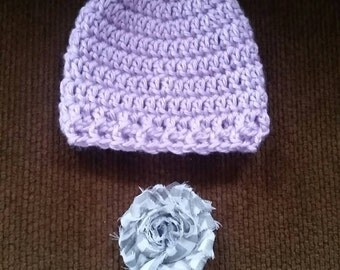 Newborn crochet stocking hat purple with removable hair clip