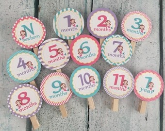 CUTE MERMAID 1st Birthday Photo Clips Banner Newborn - 12 months - Party Packs Available