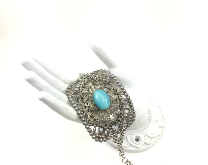 Vintage Buckle Bracelet Handmade with Vintage Blue Glass Filigree Brooch