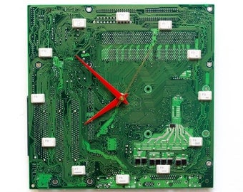 Geeky Wall clock - recycled Computer - green circuit board - ready to ship c3224