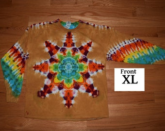 Tie Dye T-Shirt ~ Fire Mandala With Palomino Gold Background ~ C_0046 in Long Sleeve Adult XL