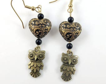 Owl and heart earrings