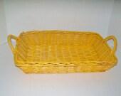 Vintage Wicker Basket Rectangular with Handles Marigold Tray Basket