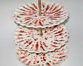 Vintage 3 tier Plate Stand Serving Plates Retro Ivory Orange Brown Splatter Glaze