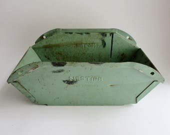 Vintage Metal Parts Bin Nestier Corp Factory Stacking Bin Industrial Turquoise Metal Box 1950's