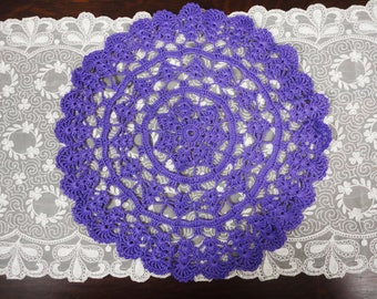 Vintage PURPLE Crocheted Doily  Table Topper