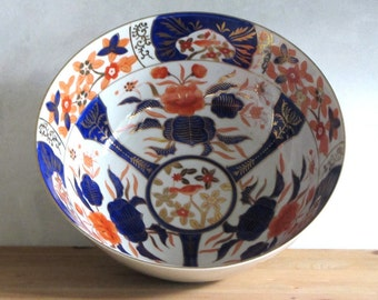 Andrea by Sadek Imari Style Large Porcelain Bowl Burnt Orange and Cobalt Floral Birds and Crabs Gold Gilt Accents and Borders  Made in Japan