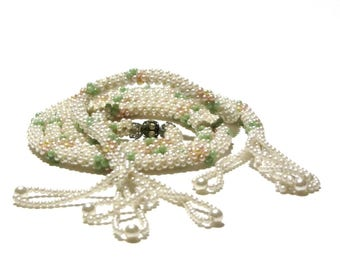 Crochet Pearl Rope Tassel Necklace Lariat Deco Flapper Beads Pastel Green and Peach With Rhinestone Rondelle Accent