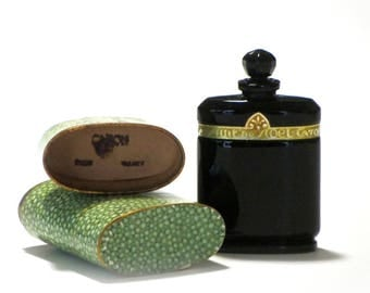 Caron Nuit de Noel Black Baccarat Glass Bottle Shagreen Print Oval Box Vanity Dressing Table Gift for Mom