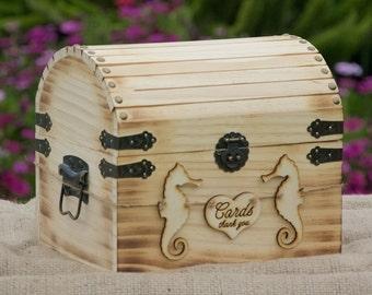 Beach Wedding Card Box-Treasure Chest-Burned/Engraved Seahorse Banner-Torched Beach Chic Card Box - Rustic Wedding Card Box