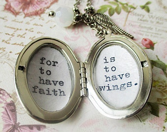 Locket with inspirational quote For to have faith is to have wings peter pan pendant with wing charm necklace for women jewelry gift