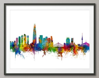 Seoul Skyline, Seoul South Korea Cityscape, Art Print (2713)
