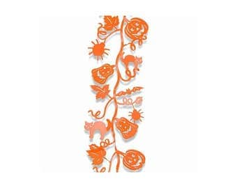 5 Foot Long Orange Metal Halloween Bendable Garland with Cats and Pumpkins and Spiders and Bats and Leaves