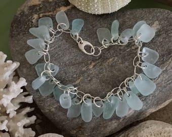 Sea glass jewelry- 26 pieces of aqua blue sea glass on a sterling silver bracelet
