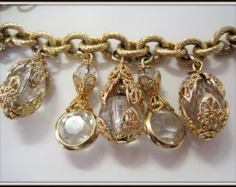 Crystal Faceted Bracelet - 13 Cha Cha Lucite Charms - Vintage  Gold Tone