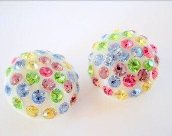 Celluloid Rhinestone Earrings -  Multicolor Vintage Clip Ons - Bright Jewel Earrings
