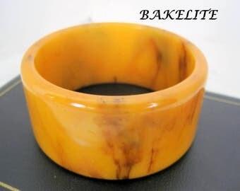 Bakelite Bangle - Butterscotch Tone - Wide Thick Bracelet