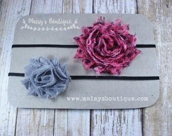 75% OFF Ready to Ship/ Set of Two Sky Blue Coral Mesh Gray Flower Headband/ Baby Headband/ Bow Headband