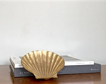 Small Vintage Brass Clamshell Dish Gold Shell Nautical Coastal Chic