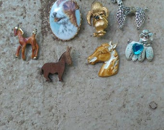 8 Animal Themed Vintage Broochpins