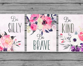Nursery Wall Art Nursery Art Baby girl Nursery Decor pink purple gray floral Nursery Set of 3 prints Nursery bouquet watercolor girls room