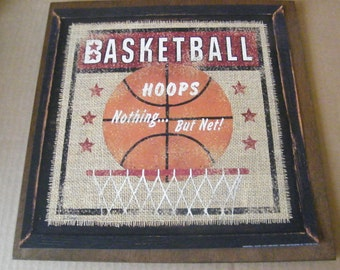 BASKETBALL Hoops Ball Sports Rustic Primitive Vintage Country Art Wall Room Sign