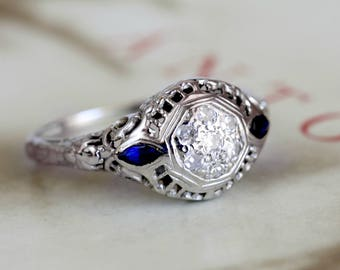 Antique Edwardian Diamond Sapphire Engagement Ring, 18k White Gold Diamond Cluster Ring, Edwardian Anniversary Ring, Art Deco Ring