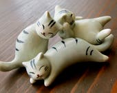 Vintage Cat Figurines - Trio of Little Kitties - Porcelain Frolicking Cats