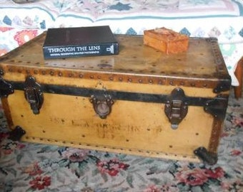 Belber Trunk and Bag Company 1937 upcyled recycled repurposed cottage cabin coffee table casters storage trunk footlocker military army