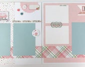 Pre-made Baby Girl Scrapbook Page Layout 2 pages 12x12 newborn shower