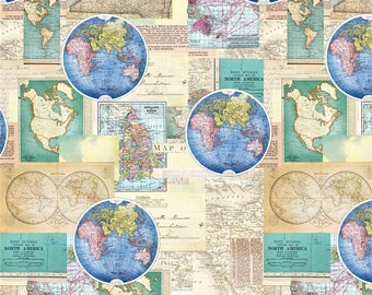 World Map Fabric Windham. Map Fabric  World North America Quilting Material Sewing Usa map fabric panel Etsy