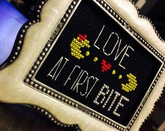 Mini Ivory Enameled Victorian Framed Cross Stitch - Pac-Man - Love At First Bite