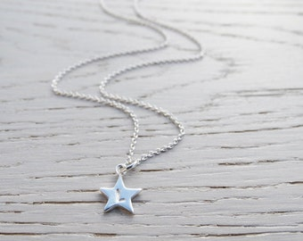 Tiny Silver Star Necklace With Initial - Personalised - Sterling Silver