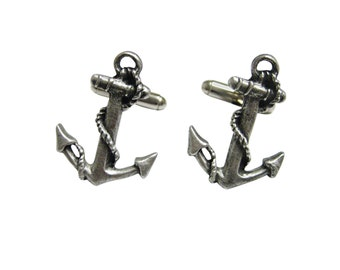 Textured Nautical Anchor Cufflinks