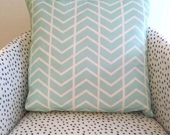 Large Chevron Stripe blue cushion cover