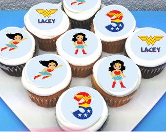 """Wonderwoman Personalised Edible Icing Cupcake Toppers - 2"""" - PRE-CUT"""
