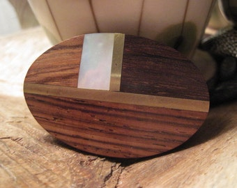Vintage Wood Brass and Mother of Pearl Inlay Belt Buckle