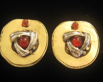 Gold Vermeil Artisan Earrings have  Carnelian Cabochon Centers with Sterling Silver Accented Setting Design.  Small Carnelian Cab at Top.