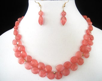 """20"""" Cherry Quartz Necklace & Earring Set.  Stones Mostly Translucent with Warm Pink Streaks Throughout.  4 Different Bead Shapes in Set."""